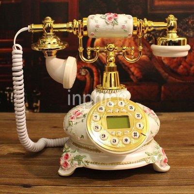 INPHIC-歐式田園時尚電話機 復古電話機 白色座機家用復古