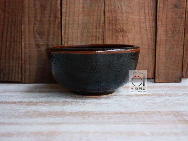 +佐和陶瓷餐具批發+【XL07058-4黑天目厚邊4井-日本製】日本製 4吋井 碗缽 飯碗 湯碗 甜品 日餐 餐廳 招待