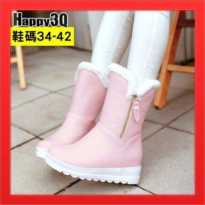 中筒靴平底女靴粉嫩黑靴白靴粉靴女鞋子側...