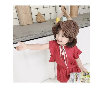 兒童草帽韓國寶寶遮陽防曬帽蕾絲系帶透氣漁夫帽子 小童編織遮陽帽