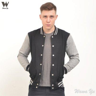 [新品]-棒球外套-棉質-長袖厚棉刷毛口袋外套-厚感羅紋領-素面-黑色-男版(尺碼XS-XL)[Wawa Yu品牌服飾]