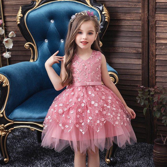 •*~ 辣媽咪衣飾小舖 ~*•❤童裝系列❤K970486韓版小童夏款甜美清新時尚蓬蓬蕾絲亮片可愛公主禮服公主洋裝