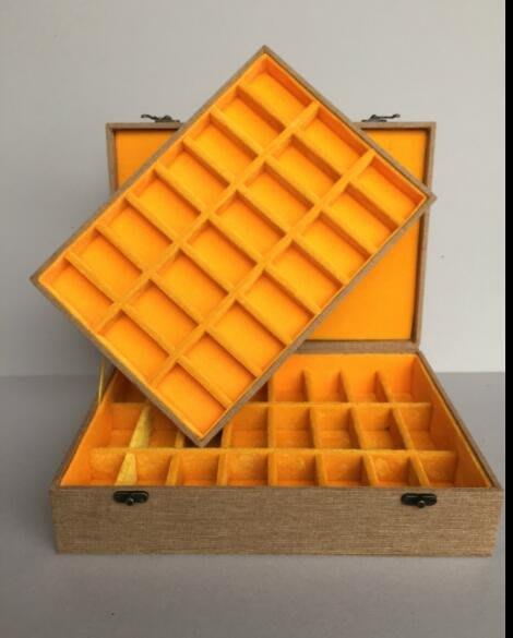 快樂的小天使--高檔精品雙層細麻布48格錦盒多格錦盒多寶盒印章盒收藏收納盒