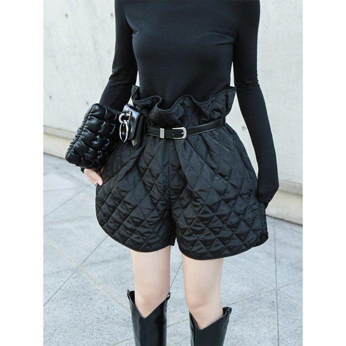 RVP|無敵瘦大腿|菱格紋鋪棉皮帶束腰寬褲短褲#送腰帶