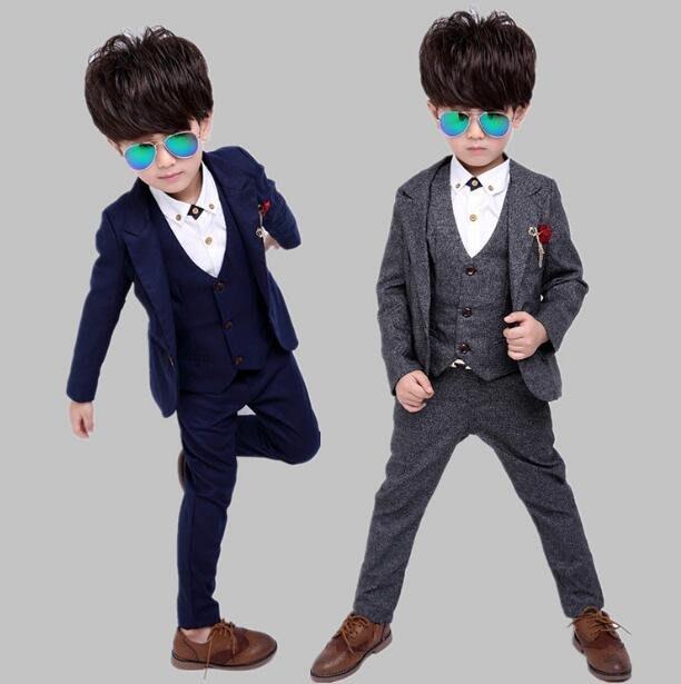 加絨新款男童小西裝套裝兒童英倫花童禮服三件套西服—莎芭