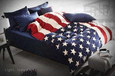 ~ 輕工業 ~美國國旗天鵝絨布純棉床包四件套組~美式絨毛毯紅白藍星星條旗枕頭棉被套床單人雙
