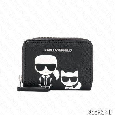 【WEEKEND】 KARL LAGERFELD Ikonik 小款 卡爾 皮夾 卡夾 短夾 零錢包 錢包 黑色