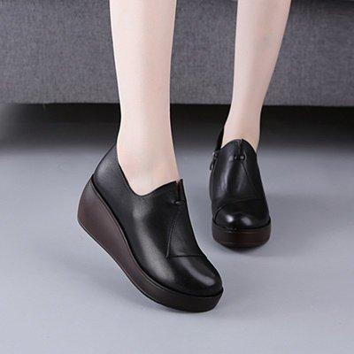新款鬆糕厚底女鞋韓版真皮女單鞋防水臺坡跟鞋子《ANGEL時尚館》xs6133