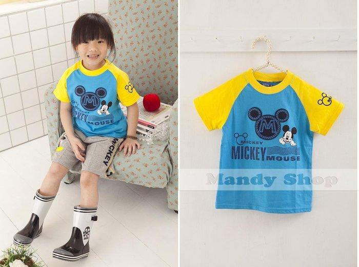 mandyshop【3056】台灣製㊣ Disney迪士尼 / 米奇拼袖100%純棉短袖T恤
