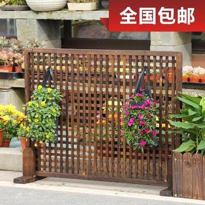碳化防腐木柵欄墻面裝飾爬藤架木籬笆方格圍欄園藝戶外護欄爬藤架小豬佩奇