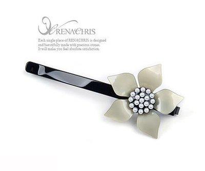 BHI309-法國品牌RenaChris 漂亮珍珠花朵髮夾 瀏海夾 線夾-附原裝包裝盒