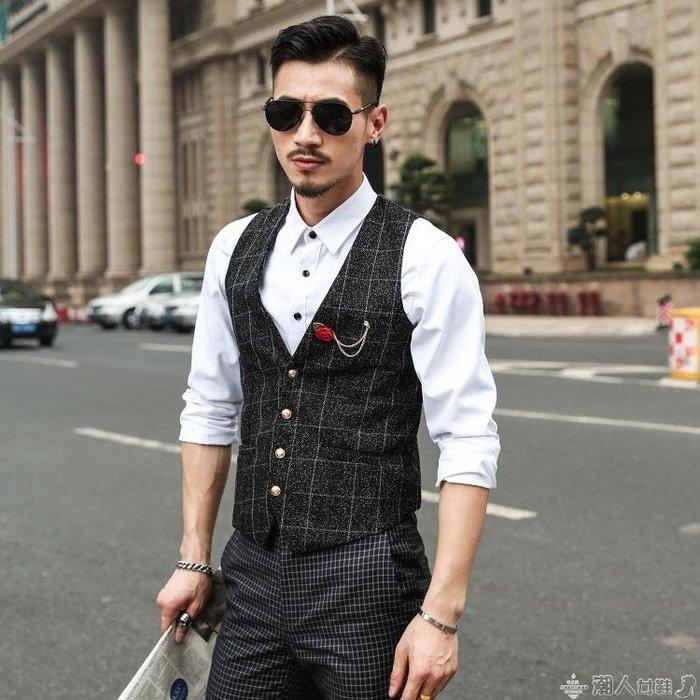 西裝馬甲馬甲男英倫韓版潮流修身小休閒薄款西裝西服春秋格子男士工裝外套