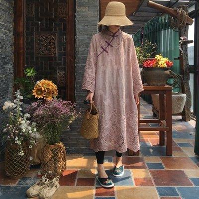 【子芸芳】原創手工炒色精美繡花中式立領盤扣連衣裙長衫