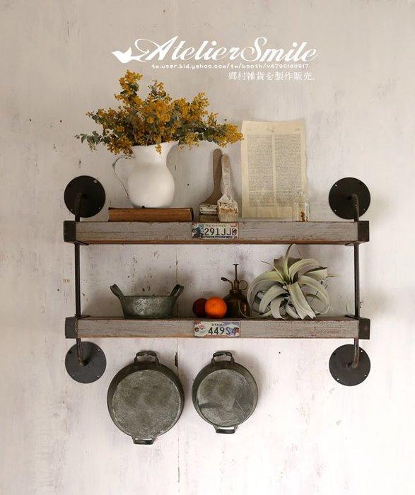 [ Atelier Smile ] 鄉村雜貨 日本直送 復古作舊 壁掛層架 隔板 工業風 # 復古灰  (現+預)