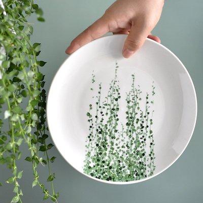 聚吉小屋 #熱賣#北歐氣質清新盤子INS超火網紅綠植盤子手繪插畫風熱帶植物餐具盤(價格不同 請諮詢後再下標)