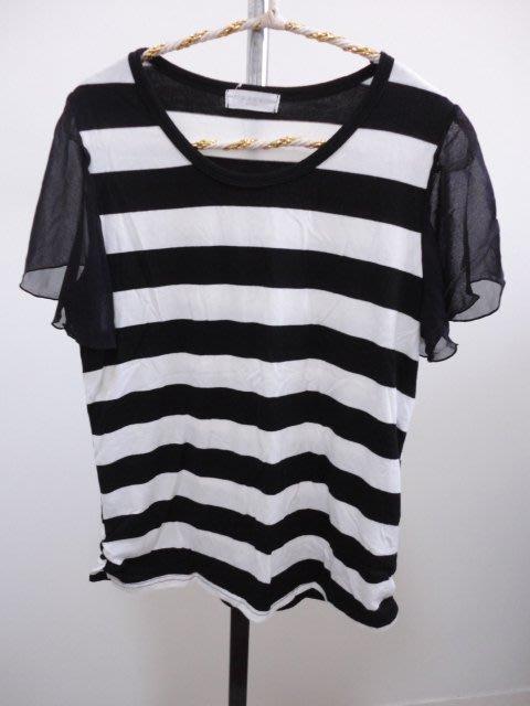 99元起標~MUSE~韓製~條紋絲紗袖圓領T恤~SIZE:F