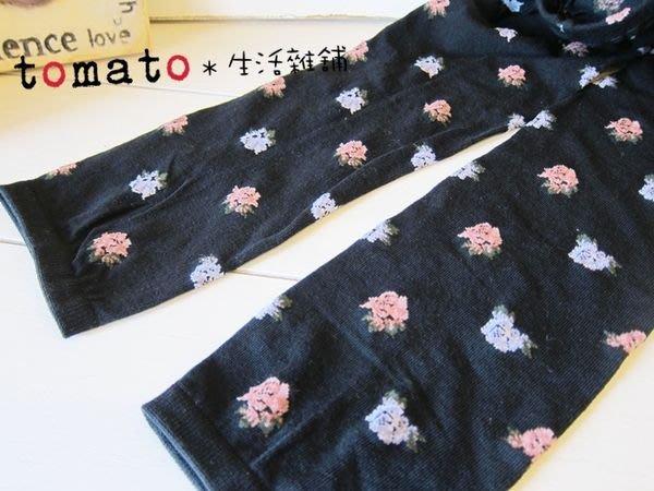 ˙TOMATO生活雜鋪˙日本進口雜貨日本製棉質立體粉紅花紫花九分丈內搭褲