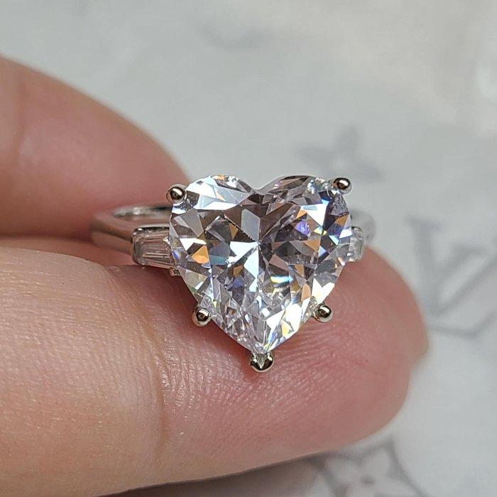 心型鑽石珠寶極光高碳鑽戒指5克拉鑽戒鑲小t鑽925銀鍍厚白金不退色肉眼難辨真假鉑金質感特價優惠指環鉑金質感真鑽 莫桑鑽寶