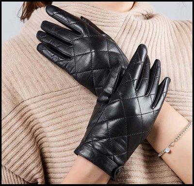 ~妖精的衣見鐘情~女士山羊皮手套冬季觸屏加絨加厚保暖時尚顯瘦純皮韓版手套