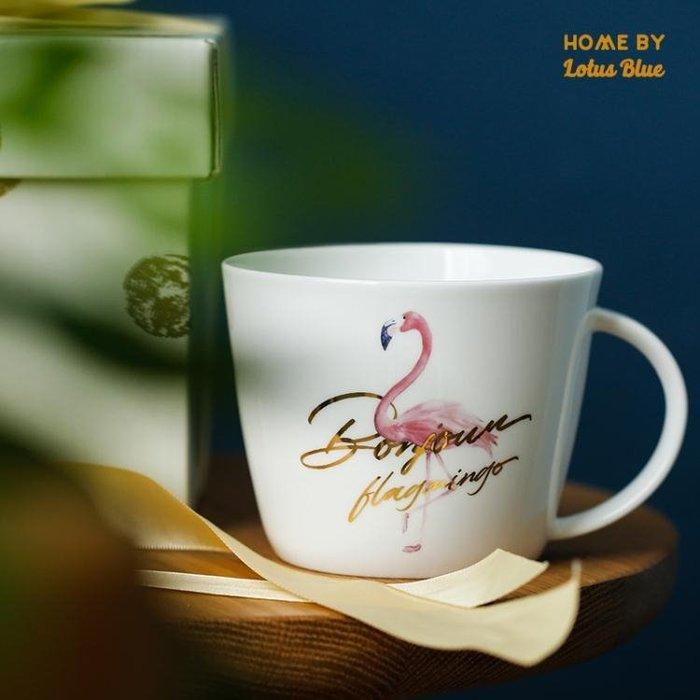 藍蓮花火烈鳥金邊杯子馬克杯骨瓷杯