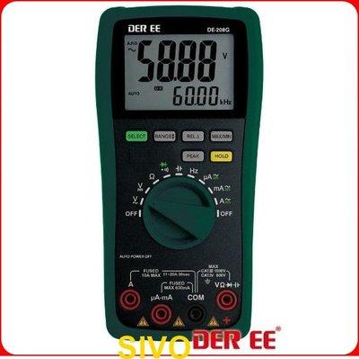 ☆SIVO電子商城☆台製得益DER EE DE-208G 數位型萬用電錶 自動鎖定讀值功能 自動關機功能選擇 過載顯示