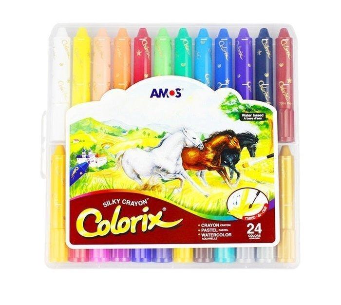 『粗款24色』【韓國AMOS 國際英文版】旋轉式蠟筆 筆筒含筆套 水溶性 多用途 粉彩 水彩  阿摩司 水蠟筆