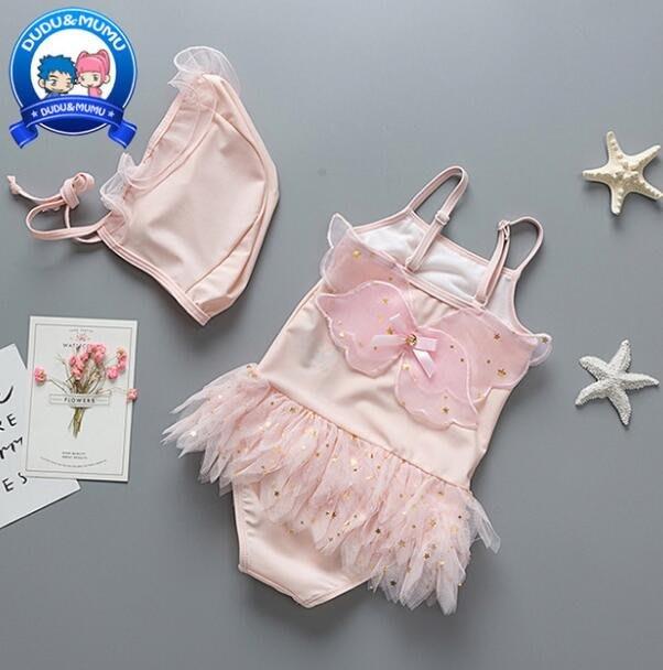 莎芭 兒童泳衣 連體女童泳裝 可愛粉色翅膀紗裙泳裝寶寶遊泳衣 中小童1-6歲