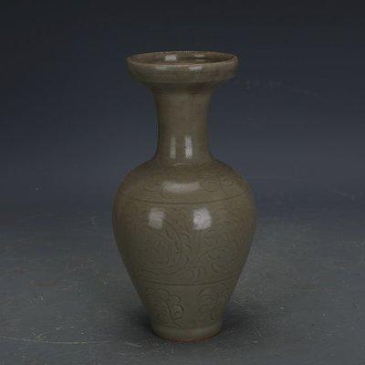 ㊣姥姥的寶藏㊣ 宋代龍泉窯青釉手工刻花束口瓶做舊  出土古瓷器古玩古董收藏擺件