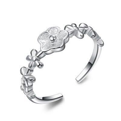 925純銀戒指 銀飾-百搭小花情人節母親節禮物女飾品73an65[獨家進口][米蘭精品]