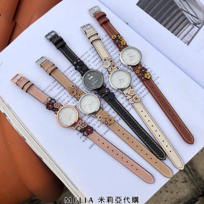 Melia 米莉亞代購 COACH 2018ss 美國代購 專櫃最新款 手錶 腕錶 花朵真皮錶帶 c14502761