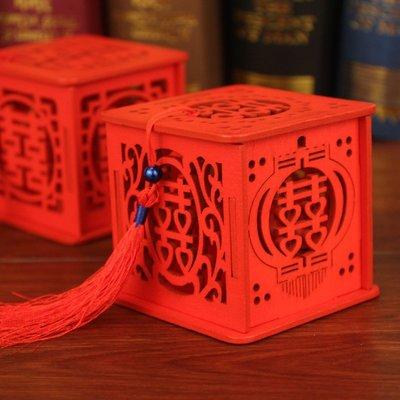【螢螢傢飾】紅色木質鏤空囍字糖盒,婚禮...