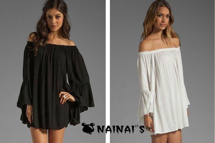 【NAINAIS】Olivia‧4344 韓版 仙女超修身一字領美肩露肩寬鬆喇叭袖雪紡洋裝 2色S-XL預
