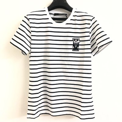 【ROZA代購】KARL LAGERFELD卡爾拉格斐老佛爺黑白條紋短T恤