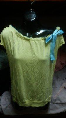 專櫃Can two品牌黃色配藍色綁帶短袖上衣