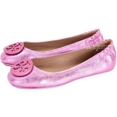 米蘭廣場 TORY BURCH Minnie Travel 盾牌金屬皮革娃娃鞋(粉色) 1710875-05