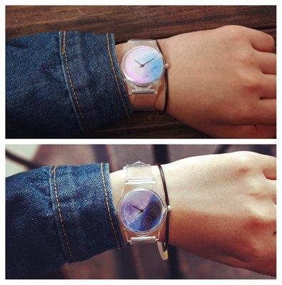 蛋蛋屋 :韓國ulzzang透明星空手錶  原宿風學生小清新森錶 星空錶 超人錶 字母數字