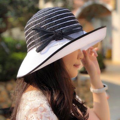 歐美風 遮陽帽 造型帽 淑女帽 -寬帽簷|硬挺帽簷|可調頭圍|限時免運|造型穿搭|折疊收納