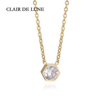 茉莉衣舘~CLAIR DE LUNE 月光珠寶 五邊形簡約單鉆女士項鍊