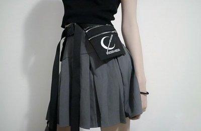 【黑店】原創設計 訂製款工裝風可拆卸口袋綁帶短裙 顯瘦工裝風個性短裙 機能短裙個性百褶裙 百搭灰色短裙MB240