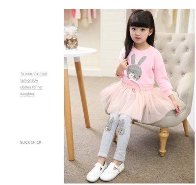 ~*竹攸小鋪*~新款可愛兔子公主純棉長袖連衣裙子兒童女孩(4-16歲)兩件套Z-0005