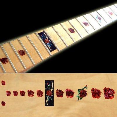 園之屋 日本 Inlay sticker 紅玫瑰 另有白玫瑰 指板貼紙 民謠吉他 電吉他 貝斯 移除簡單不傷琴面