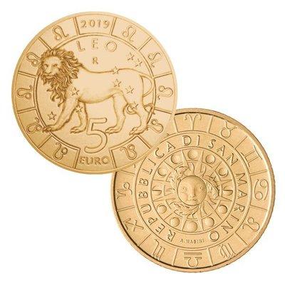 老董先生獅子座 圣馬力諾2021年5歐十二星座紀念幣 黃銅幣 全新UNC硬幣