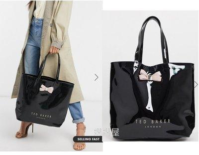 (嫻嫻屋) 英國ASOS Ted Baker-時尚名媛蝴蝶結設計黑色購物袋禮物Bow Bag  現貨