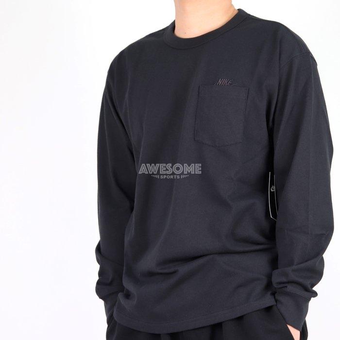 [歐鉉]NIKE NSW MAX 90 POCKET 黑色 刺繡LOGO 口袋 長T 運動長袖 男 DD3875-010