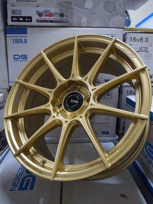 超鑫鋁圈 DG FG06 16吋旋壓鋁圈 輕量化 金色 4孔100 7J 大內凹 海拉風