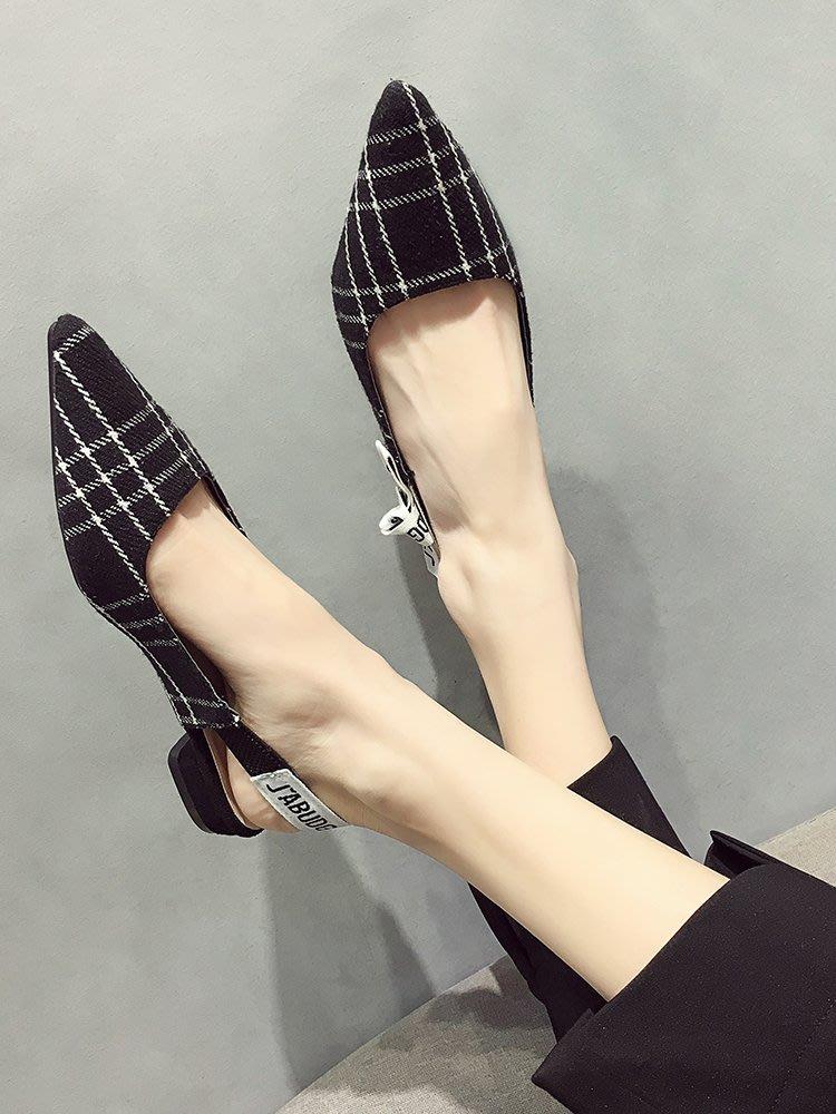 小尤家~網紅涼鞋女外穿新款韓版蝴蝶結尖頭波點網紗鏤空半包頭單鞋潮