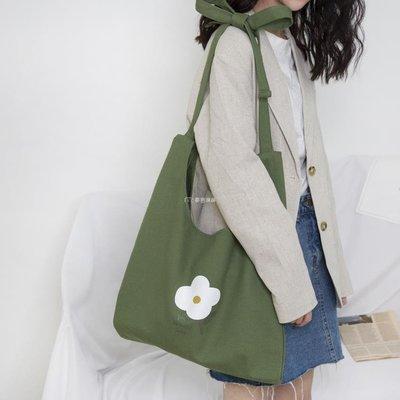 【現貨 快速出貨】帆布包清新綠色帆布袋單肩斜挎大容量小花文藝女包包【全館免運】