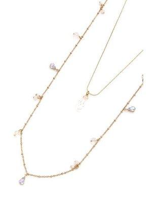 日本 Aylesbury 優雅垂墜透明水晶兩件式項鍊