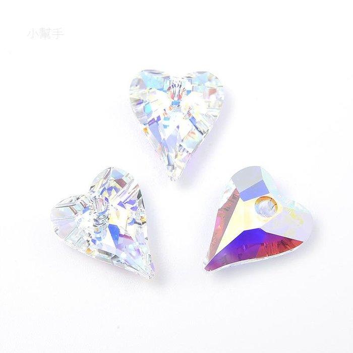 項鏈半成品配件吊墜水晶散珠串珠水滴愛心彩白色6240-mm 新麗小舖