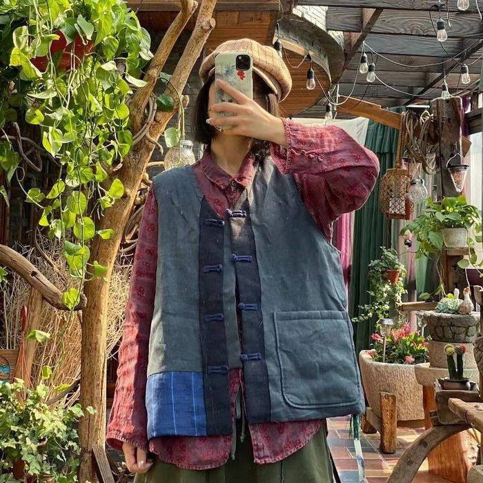 【子芸芳】復古文藝原創水洗毛邊亞麻拼布寬鬆棉馬夾坎肩